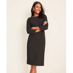 The Boatneck Dress in Black Bi-Stretch