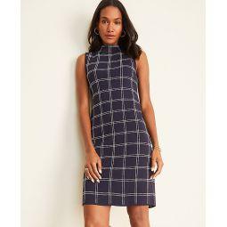 Plaid Mock Neck Sweater Dress