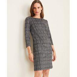 Windowpane Zip Pocket Shift Dress