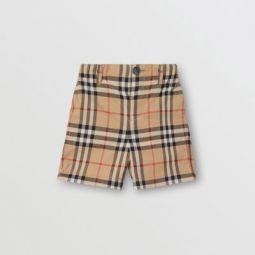 Vintage Check Cotton Poplin Tailored Shorts