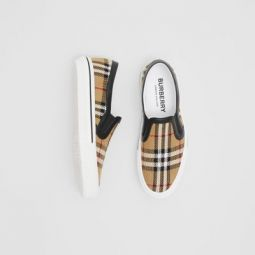 Vintage Check and Leather Slip-on Sneakers