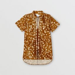 Short-sleeve Deer Print Cotton Shirt