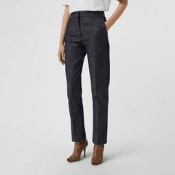 Straight Fit Monogram Motif Japanese Denim Jeans
