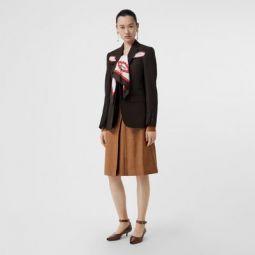 Topstitch Detail Wool Silk Mohair Linen A-line Skirt
