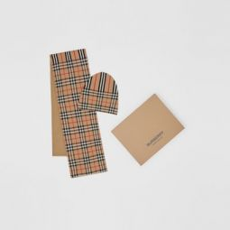 Vintage Check and Icon Stripe Wool Two-piece Gift Set