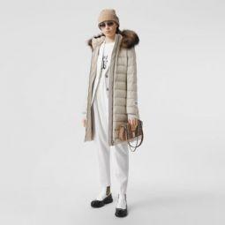 Detachable Faux Fur Trim Hooded Puffer Coat