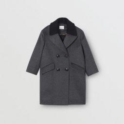 Contrast Collar Cashmere Tailored Coat