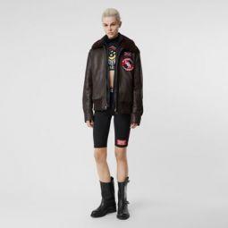 Detachable Shearling Collar Flight Jacket with Warmer