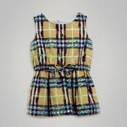 Scribble Check Print Cotton Drawcord Dress
