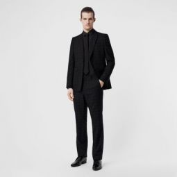 Classic Fit Fil Coupe Wool Cotton Tailored Trousers