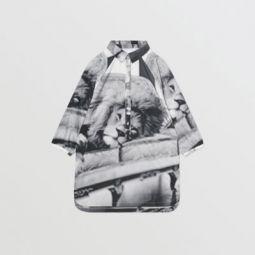 Vintage Photo Print Cotton Shirt Dress