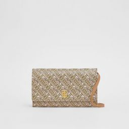 Monogram Print Leather Wallet with Detachable Strap