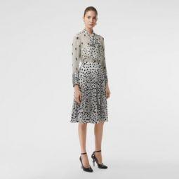 Dalmatian Print Crepe Pleated Skirt