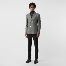 Slim Fit Check Wool Double-breasted Jacket
