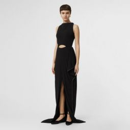 Crystal Detail Cut-out Stretch Jersey Gown