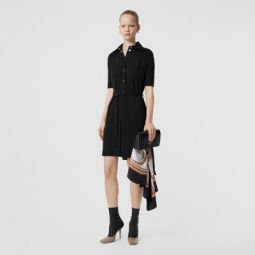 Short-sleeve Gathered Jersey Dress