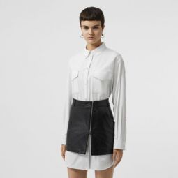 Topstitch Detail Cotton Poplin Shirt Dress