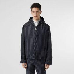 Pinstriped Wool Hooded Jacket