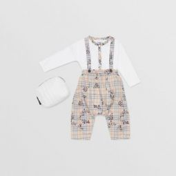 Star Print Check Cotton Two-piece Baby Gift Set