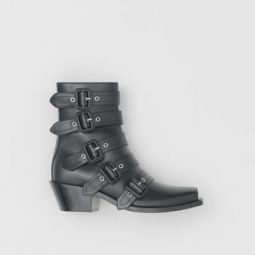 Buckled Leather Peep-toe Ankle Boots