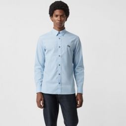 Contrast Button Stretch Cotton Shirt