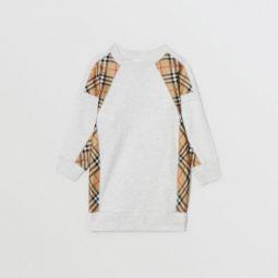 Vintage Check Panel Cotton Sweater Dress