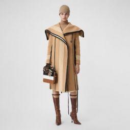 Lambskin Trim Striped Wool Wrap Coat