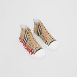 Logo Print Vintage Check High-top Sneakers