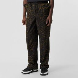 Relaxed Fit Leopard Print Cotton Trousers