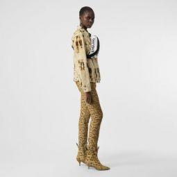 Straight Fit Leopard Print Japanese Denim Jeans