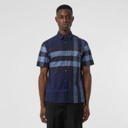 Short-sleeve Check Stretch Cotton Shirt