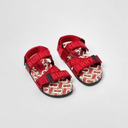 Monogram Print Cotton Gabardine Sandals