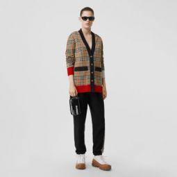 Vintage Check Merino Wool Blend Jacquard Cardigan