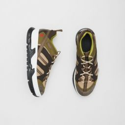 Mesh and Suede Union Sneakers
