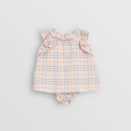Ruffle Detail Check Cotton Dress with Bloomers