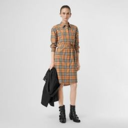 Vintage Check Cotton Tie-waist Shirt Dress