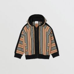 Icon Stripe Cotton Hooded Top