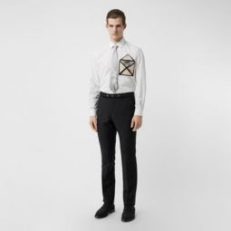 Classic Fit Triple Stud Wool Mohair Tailored Trousers