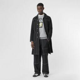 Topstitch Detail Wool Blend Wide-leg Trousers