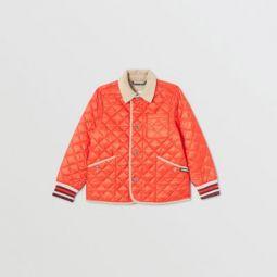 Corduroy Trim Lightweight Diamond Quilted Jacket