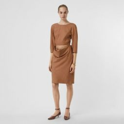 Double-waist Wool Silk Mohair Linen Dress