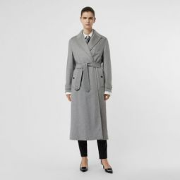 Peak Lapel Cashmere Wrap Coat