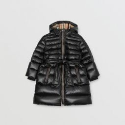 Icon Stripe Detail Down-filled Hooded Puffer Coat