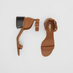 Gold-plated Detail Leather Block-heel Sandals