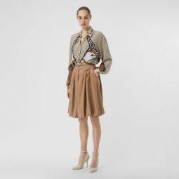Linen Blend Bubble Hem Skirt