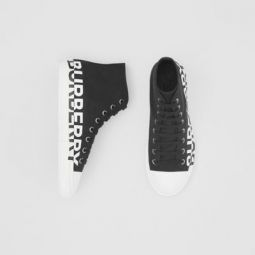 Logo Print Cotton Gabardine High-top Sneakers