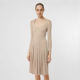 Long-sleeve Pleated Dress