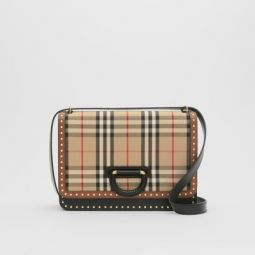 The Medium Leather and Vintage Check D-ring Bag