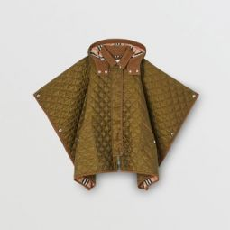 Corduroy Trim Diamond Quilted Hooded Poncho