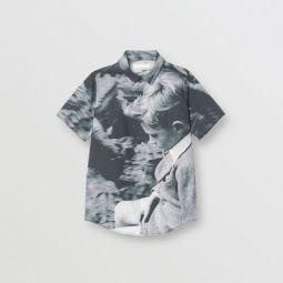 Short-sleeve Vintage Photo Print Cotton Shirt